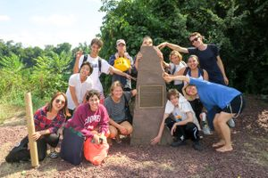 At the Portland Brownstone Quarries national historic landmark plaque.jpg